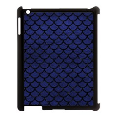 Scales1 Black Marble & Blue Leather (r) Apple Ipad 3/4 Case (black) by trendistuff