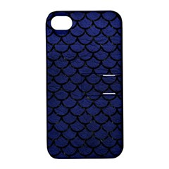 Scales1 Black Marble & Blue Leather (r) Apple Iphone 4/4s Hardshell Case With Stand by trendistuff