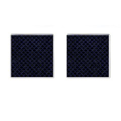 Scales1 Black Marble & Blue Leather Cufflinks (square) by trendistuff