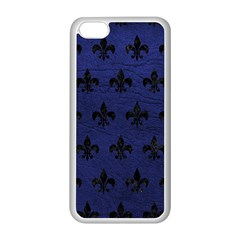 Royal1 Black Marble & Blue Leather Apple Iphone 5c Seamless Case (white) by trendistuff