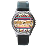 Glitter Aztec Watch - Round Metal Watch