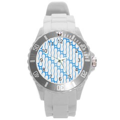 Batik Pattern Round Plastic Sport Watch (l) by Simbadda