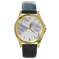 Design Grafis Pattern Round Gold Metal Watch by Simbadda