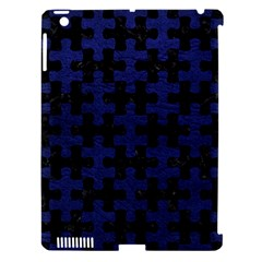Puzzle1 Black Marble & Blue Leather Apple Ipad 3/4 Hardshell Case (compatible With Smart Cover) by trendistuff
