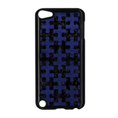 Puzzle1 Black Marble & Blue Leather Apple Ipod Touch 5 Case (black) by trendistuff