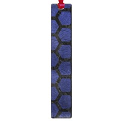 Hexagon2 Black Marble & Blue Leather (r) Large Book Mark by trendistuff