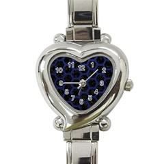 Hexagon2 Black Marble & Blue Leather Heart Italian Charm Watch by trendistuff