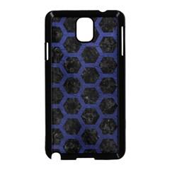 Hexagon2 Black Marble & Blue Leather Samsung Galaxy Note 3 Neo Hardshell Case (black) by trendistuff