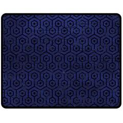 Hexagon1 Black Marble & Blue Leather (r) Fleece Blanket (medium) by trendistuff