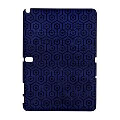 Hexagon1 Black Marble & Blue Leather (r) Samsung Galaxy Note 10 1 (p600) Hardshell Case by trendistuff
