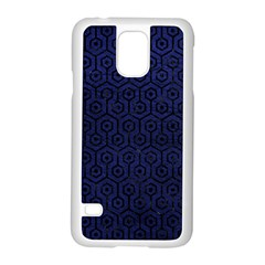Hexagon1 Black Marble & Blue Leather (r) Samsung Galaxy S5 Case (white) by trendistuff
