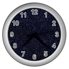 Hexagon1 Black Marble & Blue Leather Wall Clock (silver) by trendistuff