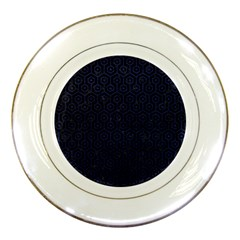 Hexagon1 Black Marble & Blue Leather Porcelain Plate by trendistuff