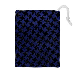 Houndstooth2 Black Marble & Blue Leather Drawstring Pouch (xl) by trendistuff
