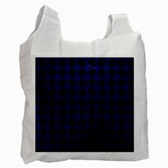 Houndstooth1 Black Marble & Blue Leather Recycle Bag (one Side) by trendistuff