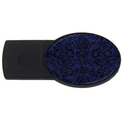 Damask2 Black Marble & Blue Leather (r) Usb Flash Drive Oval (2 Gb) by trendistuff