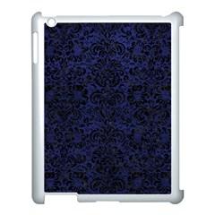 Damask2 Black Marble & Blue Leather (r) Apple Ipad 3/4 Case (white) by trendistuff