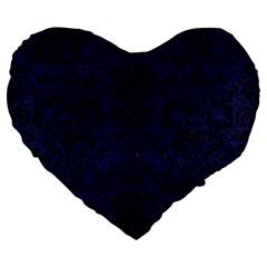 Damask2 Black Marble & Blue Leather (r) Large 19  Premium Flano Heart Shape Cushion by trendistuff