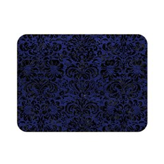 Damask2 Black Marble & Blue Leather (r) Double Sided Flano Blanket (mini) by trendistuff