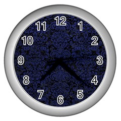 Damask2 Black Marble & Blue Leather Wall Clock (silver) by trendistuff