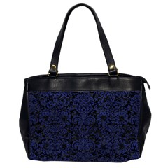 Damask2 Black Marble & Blue Leather Oversize Office Handbag (2 Sides) by trendistuff