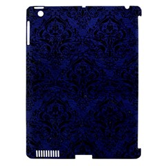 Damask1 Black Marble & Blue Leather (r) Apple Ipad 3/4 Hardshell Case (compatible With Smart Cover) by trendistuff