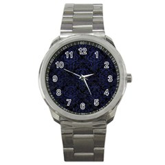 Damask1 Black Marble & Blue Leather Sport Metal Watch by trendistuff