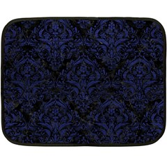 Damask1 Black Marble & Blue Leather Double Sided Fleece Blanket (mini) by trendistuff