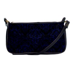 Damask1 Black Marble & Blue Leather Shoulder Clutch Bag by trendistuff