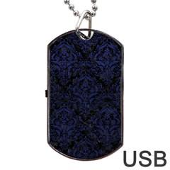 Damask1 Black Marble & Blue Leather Dog Tag Usb Flash (one Side) by trendistuff