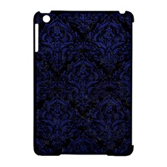 Damask1 Black Marble & Blue Leather Apple Ipad Mini Hardshell Case (compatible With Smart Cover) by trendistuff