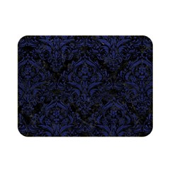 Damask1 Black Marble & Blue Leather Double Sided Flano Blanket (mini) by trendistuff