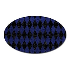 Diamond1 Black Marble & Blue Leather Magnet (oval) by trendistuff
