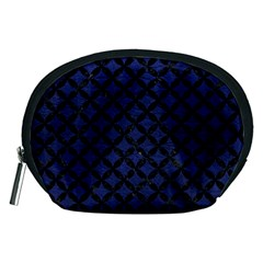 Circles3 Black Marble & Blue Leather (r) Accessory Pouch (medium) by trendistuff