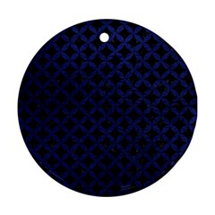 Circles3 Black Marble & Blue Leather Round Ornament (two Sides) by trendistuff