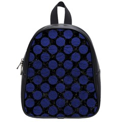 Circles2 Black Marble & Blue Leather School Bag (small) by trendistuff