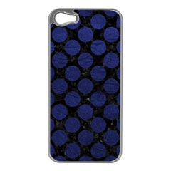 Circles2 Black Marble & Blue Leather Apple Iphone 5 Case (silver) by trendistuff