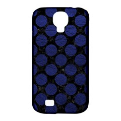 Circles2 Black Marble & Blue Leather Samsung Galaxy S4 Classic Hardshell Case (pc+silicone) by trendistuff