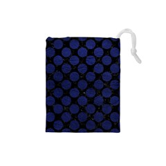 Circles2 Black Marble & Blue Leather Drawstring Pouch (small) by trendistuff