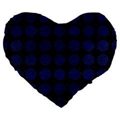 Circles1 Black Marble & Blue Leather Large 19  Premium Flano Heart Shape Cushion by trendistuff