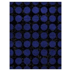 Circles1 Black Marble & Blue Leather Drawstring Bag (large) by trendistuff