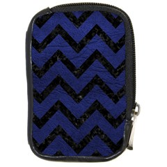 Chevron9 Black Marble & Blue Leather (r) Compact Camera Leather Case by trendistuff