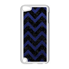 Chevron9 Black Marble & Blue Leather Apple Ipod Touch 5 Case (white) by trendistuff