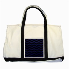 Chevron3 Black Marble & Blue Leather Two Tone Tote Bag by trendistuff