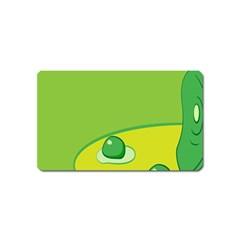 Food Egg Minimalist Yellow Green Magnet (name Card) by Alisyart