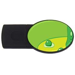 Food Egg Minimalist Yellow Green Usb Flash Drive Oval (2 Gb) by Alisyart
