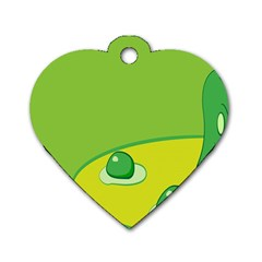 Food Egg Minimalist Yellow Green Dog Tag Heart (one Side) by Alisyart