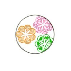 Flower Floral Love Valentine Star Pink Orange Green Hat Clip Ball Marker (4 Pack) by Alisyart