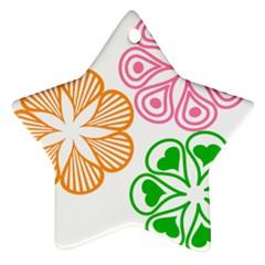 Flower Floral Love Valentine Star Pink Orange Green Star Ornament (two Sides) by Alisyart