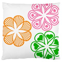 Flower Floral Love Valentine Star Pink Orange Green Large Cushion Case (one Side) by Alisyart